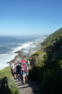 The Otter Trail runs along the coast of the Garden Route in South Africa and provides spectacular scenery all allong the trail.